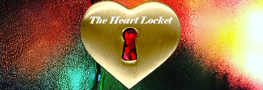 Book cover art for Daniel Kuhnley's fantasy novel The Heart Locket - features a heart shaped gold locket with a key hole in front of a window covered in rain revealing colorful lights.