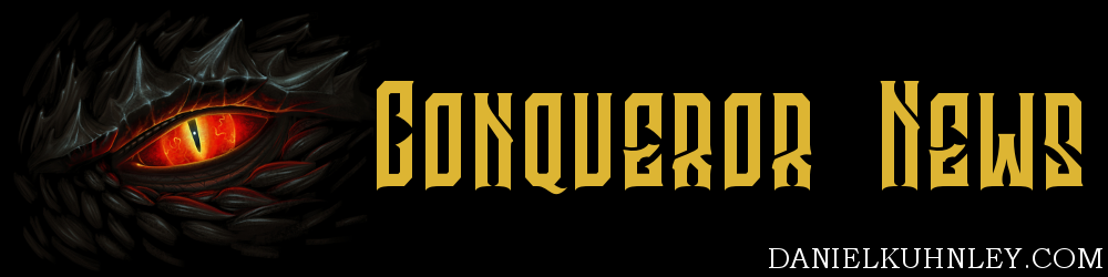 Conqueror News Logo featuring the red evil eye of a black dragon.