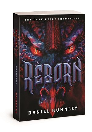 Paperback book cover art for Daniel Kuhnley's fantasy novel Reborn - features a dragon face with red, evil eyes