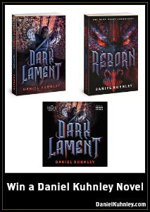 Book cover art for Daniel Kuhnley's fantasy novels Dark Lament and Reborn. Dark Lament features a man with a sword pushing doors made of human skulls. Reborn features a dragon face with red, evil eyes.