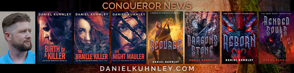 Conqueror News Logo featuring the covers of his last three novels, The Braille Killer Dark Lament, and Reborn.