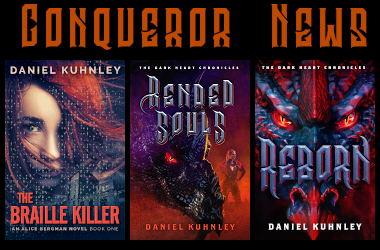 Conqueror News Media Logo featuring the covers of his last three novels, The Braille Killer Dark Lament, and Reborn.