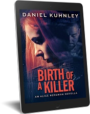 EReader cover art for Daniel Kuhnley's mystery thriller novella Birth Of A Killer - features the side of a woman's face with red hair. A glass-front building is in the background and and so is the face of a man with a goatee and skull and crossbones tattoo on his neck.