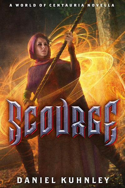 Book cover art for Daniel Kuhnley's dark fantasy novella Scourge. Features a woman wearing a purple cloak and holding a twisted staff in a defensive stance. Orange rings and swirls of magic surround her.