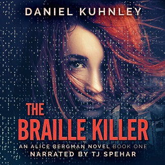 Audiobook cover art for Daniel Kuhnley's mystery thriller novel The Braille Killer - features a woman's face with red hair blown across it and covering her left eye. A textile mill is in the background and braille letters are scattered across the image.