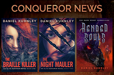 Conqueror News Media Logo featuring the covers of his last three novels, The Braille Killer, Rended Souls, and Reborn.