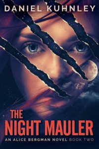 Book cover art for Daniel Kuhnley's supernatural serial killer novel The Night Mauler - features an image of a woman with red hair with claw marks through her face