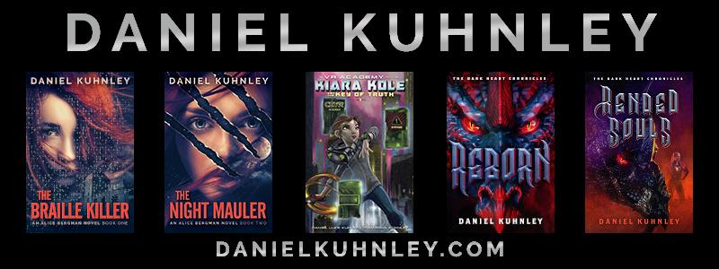 Logo featuring latest four novel covers and self protrait. Text reads Daniel Kuhnley danielkuhnley.com